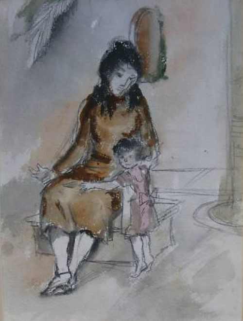 Frau mit Mädchen, um 1935,  Aquarell von Peter Janssen, für vergrößerte Ansicht hier klicken!