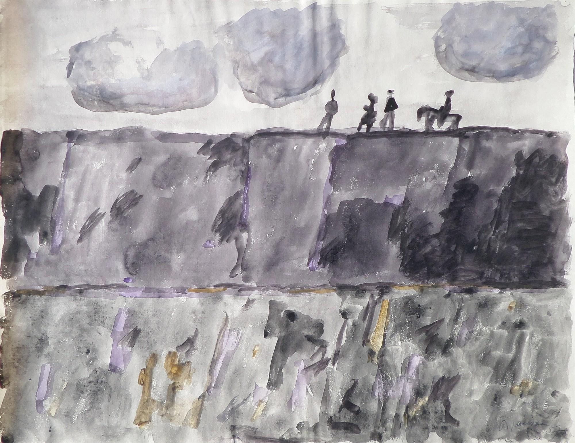 Reiter und Figuren, 1957,  Aquarell von Peter Janssen, für vergrößerte Ansicht hier klicken!