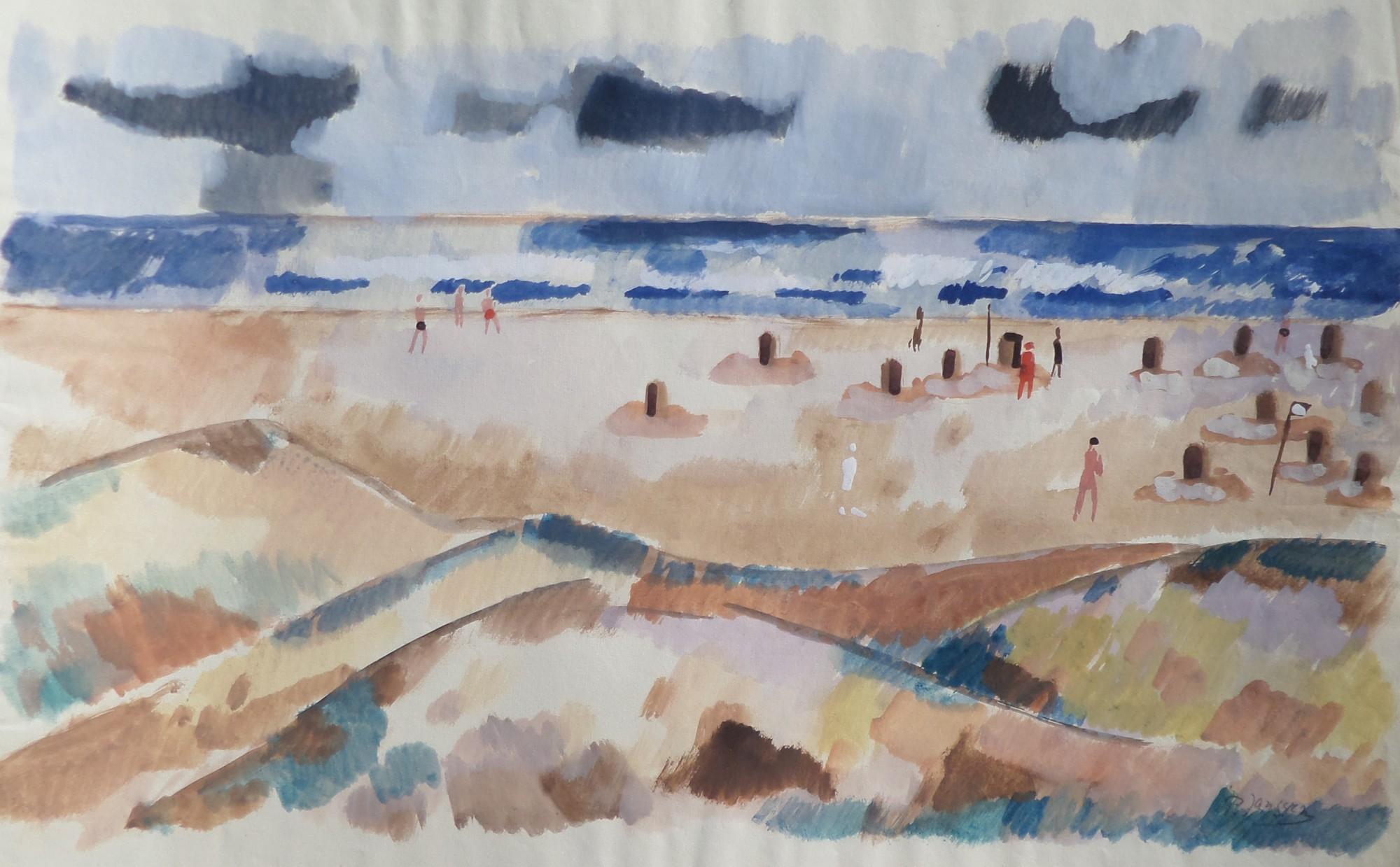 Strandidylle, um 1950,  Aquarell von Peter Janssen, für vergrößerte Ansicht hier klicken!