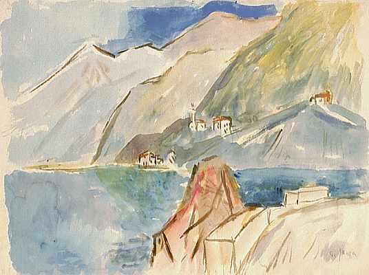 Dorf an Felsküste, Aquarell von Peter Janssen