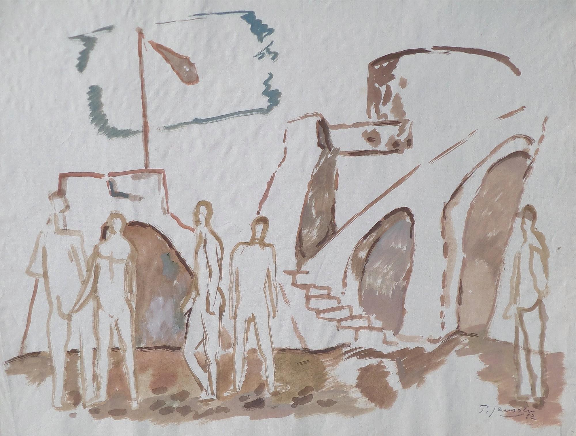 Figuren auf Dorfplatzl, Aquarell von Peter Janssen, für vergrößerte Ansicht bitte anklicken!