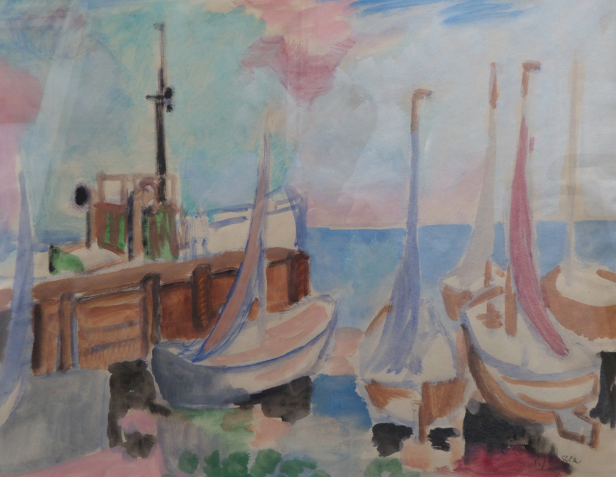 Fishing Boats, water colour by Peter Janssen.