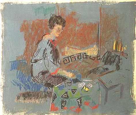 Frau auf blauem Grundl, Aquarell von Peter Janssen