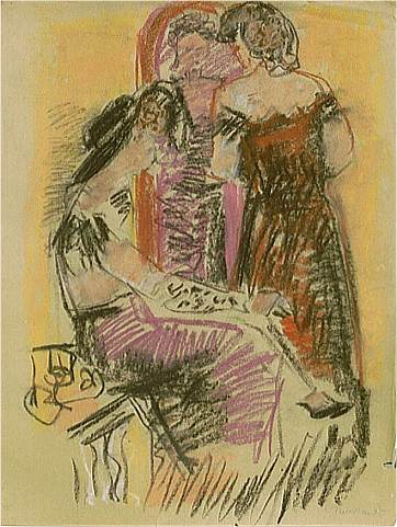 Zwei Frauen vor Spiegel, Zeichnung von Peter Janssen