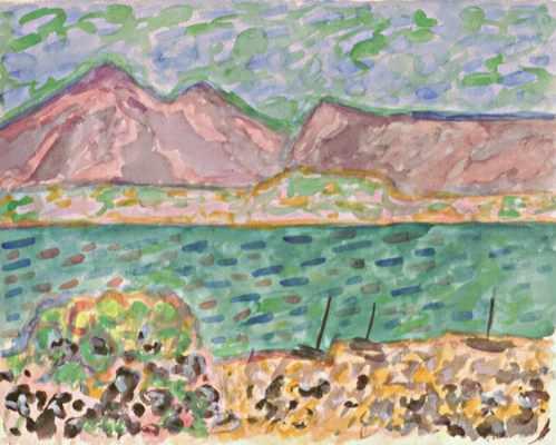 Grünes Wasser, violette Berge, Aquarell von Peter Janssen