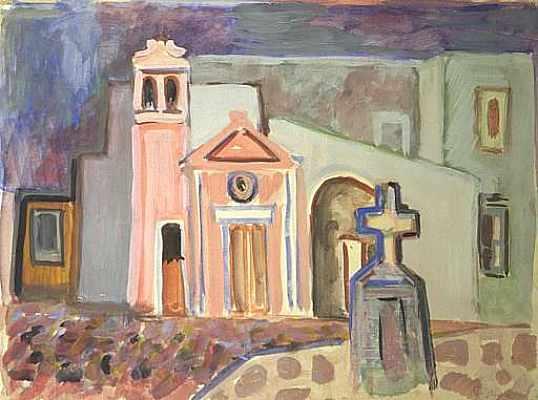 Kleine Kirche in Ischial, Aquarell von Peter Janssen