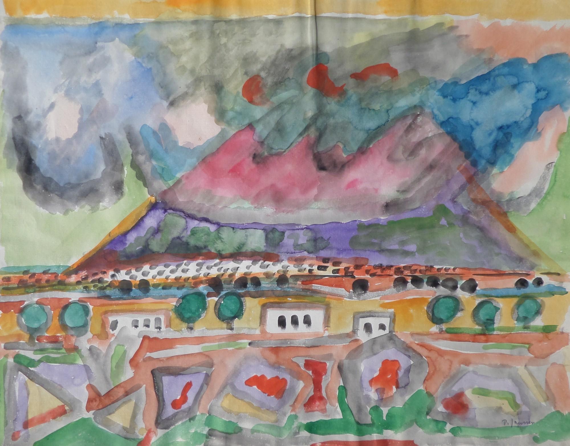 Landschaft vor Vulkan, Aquarell von Peter Janssen, für vergrößerte Ansicht bitte anklicken!