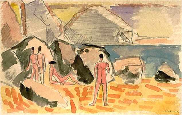 Nackte Männer am Strandl, Aquarell von Peter Janssen
