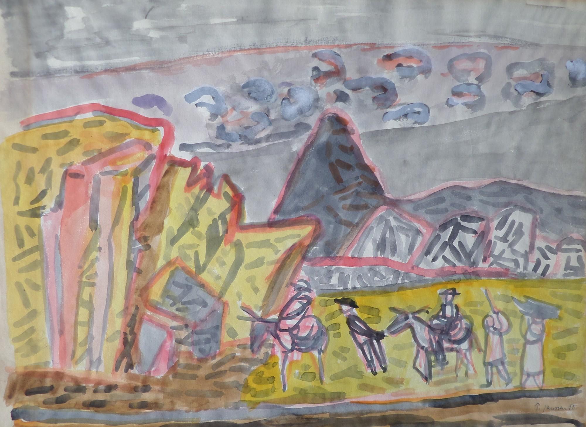 Runder Himmel, Striche, Aquarell von Peter Janssen, für vergrößerte Ansicht bitte anklicken!