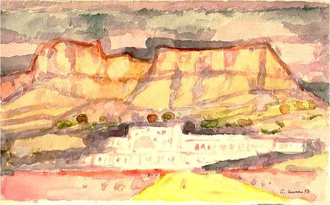 Spanisches Dorf m. Abendhimmel, 1956, Aquarell von Peter Janssen