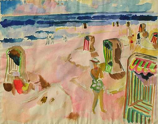 Beach Scene with Woman, water colour by Peter Janssen.