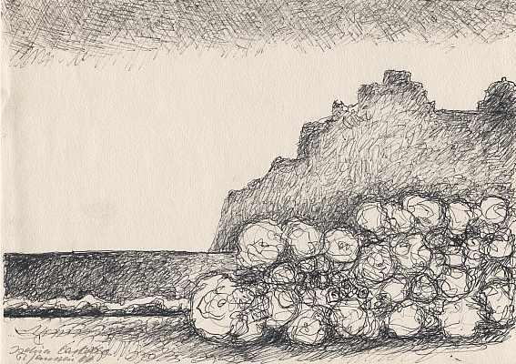 Ischia, Castello 1966, Zeichnung von Peter Janssen