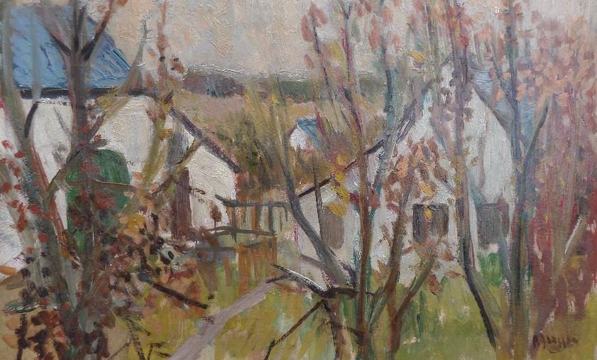 Dorfrand, um 1946,  Gemälde von Peter Janssen, für vergrößerte Ansicht hier klicken!