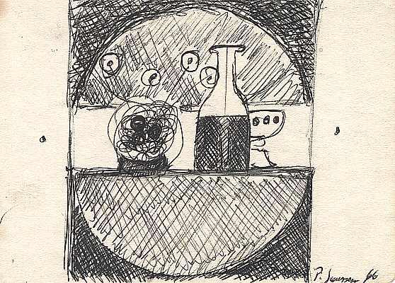 Stilleben mit Flasche 1966, Zeichnung von Peter Janssen
