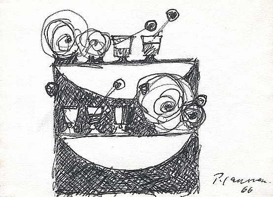 Regal mit Gläsern 1966, Zeichnung von Peter Janssen