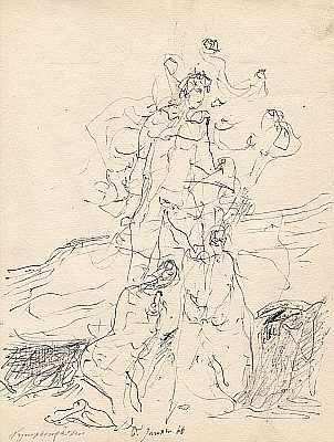 Nymphengärten 1966, Zeichnung von Peter Janssen