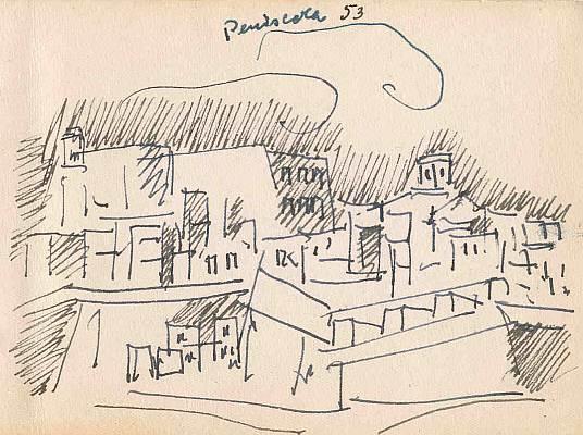 Peniscola 1953, Zeichnung von Peter Janssen