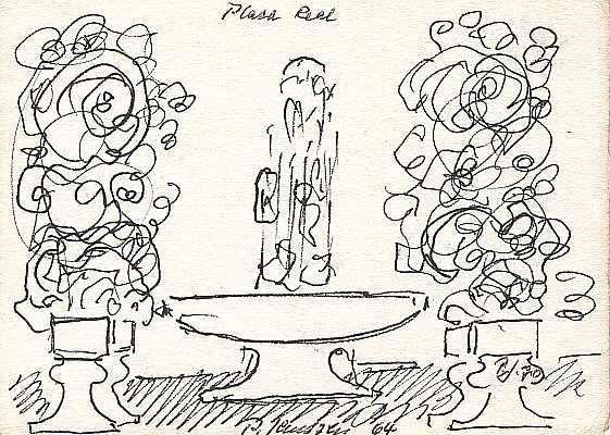 Plaza Real 1964, Zeichnung von Peter Janssen