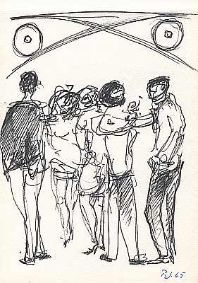 Studenten, Zeichnung von Peter Janssen