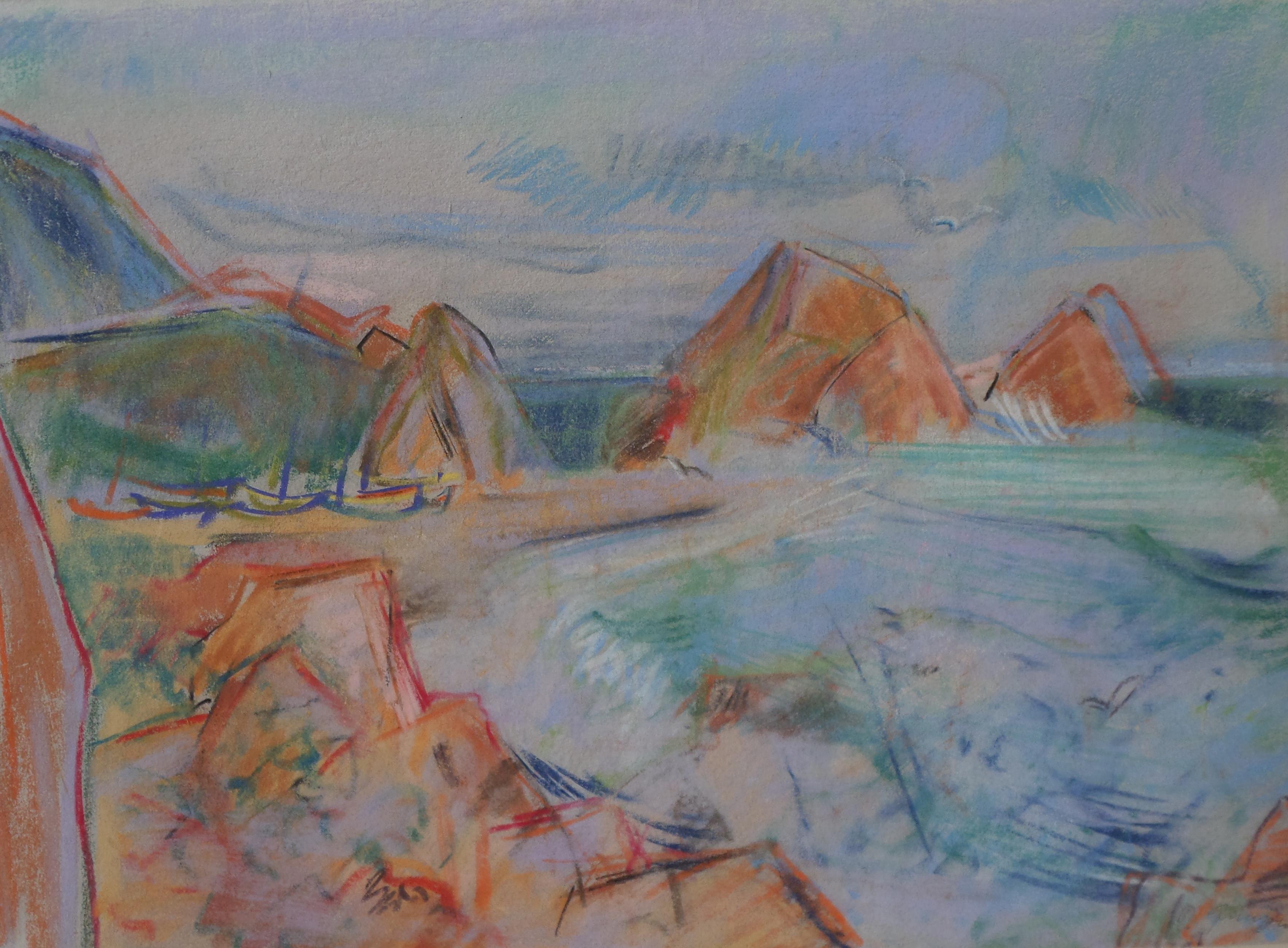 Boote am Strand, Wachszeichnung von Peter Janssen