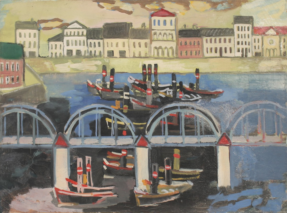 Tug Boats, painting by Peter Janssen, please click for enlarged view!