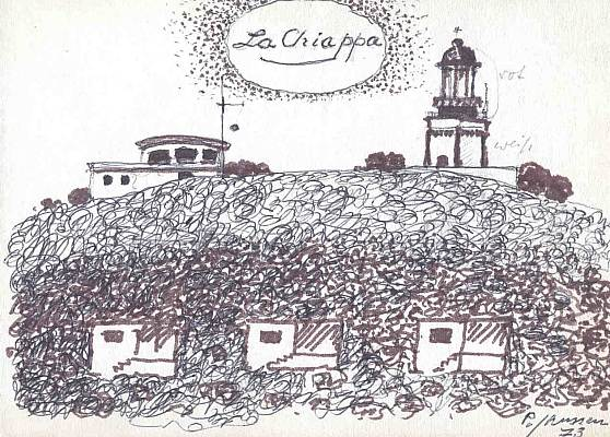 La Chiappa - Korsika 1973, Zeichnung von Peter Janssen