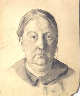 Portrait einer Frau, Zeichnung von Peter Janssen