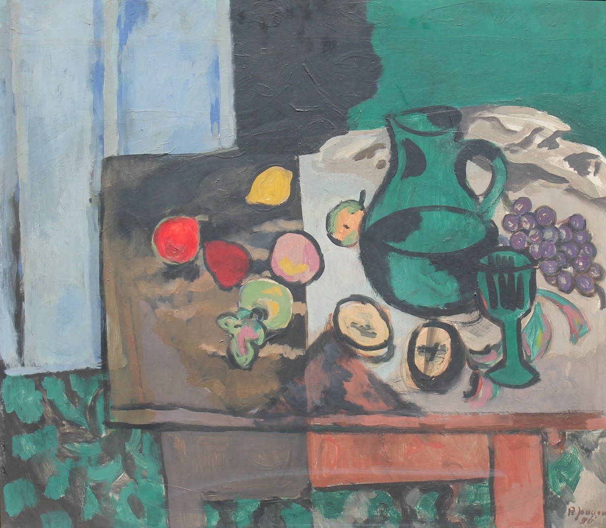Still Life with green Jug, painting by Peter Janssen, please click for enlarged view!
