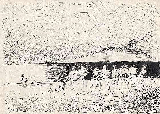 Ischia 1966, Zeichnung von Peter Janssen