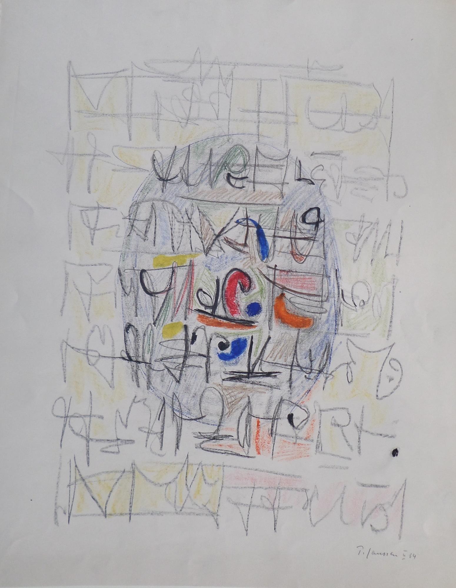 Komposition, Zeichnung von Peter Janssen, für vergrößerte Ansicht bitte anklicken!