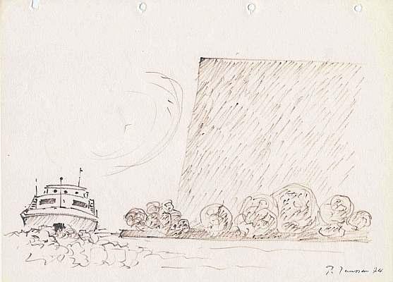 Loreley, 1974, Zeichnung von Peter Janssen