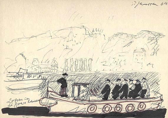 Lotsen in St. Goarshausen, Zeichnung von Peter Janssen