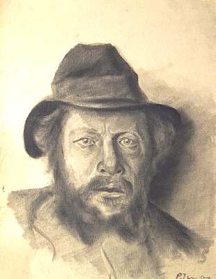 Portrait Mann mit Hut, Zeichnung von Peter Janssen