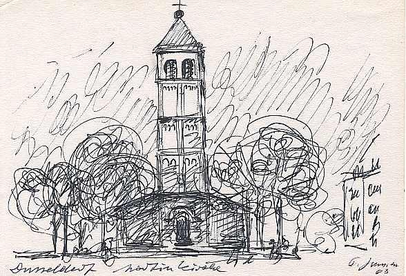 Martinkirche Düsseldorf, Zeichnung von Peter Janssen