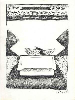 Stilleben mit Melonenscheiben, Zeichnung von Peter Janssen