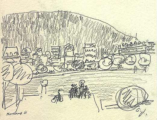 Montreux, Zeichnung von Peter Janssen
