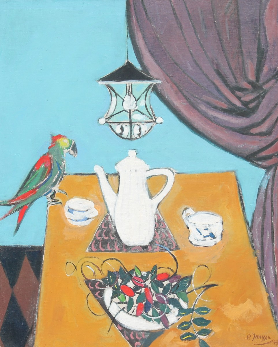 Still Life with Parrot, painting by Peter Janssen, please click for enlarged view!
