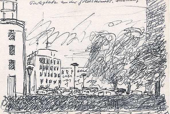 Parkplatz Golzheim, Zeichnung von Peter Janssen
