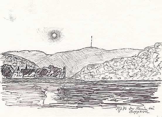 Der Rhein bei Boppard, Zeichnung von Peter Janssen