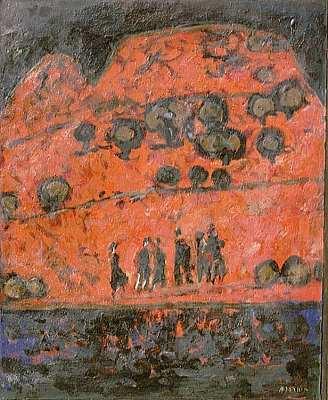 Roter Berg mit Figuren
