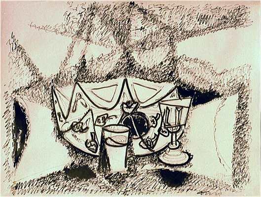 Stilleben mit Schale und Gläsern, Zeichnung von Peter Janssen