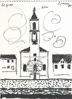 St. Goar, Zeichnung von Peter Janssen