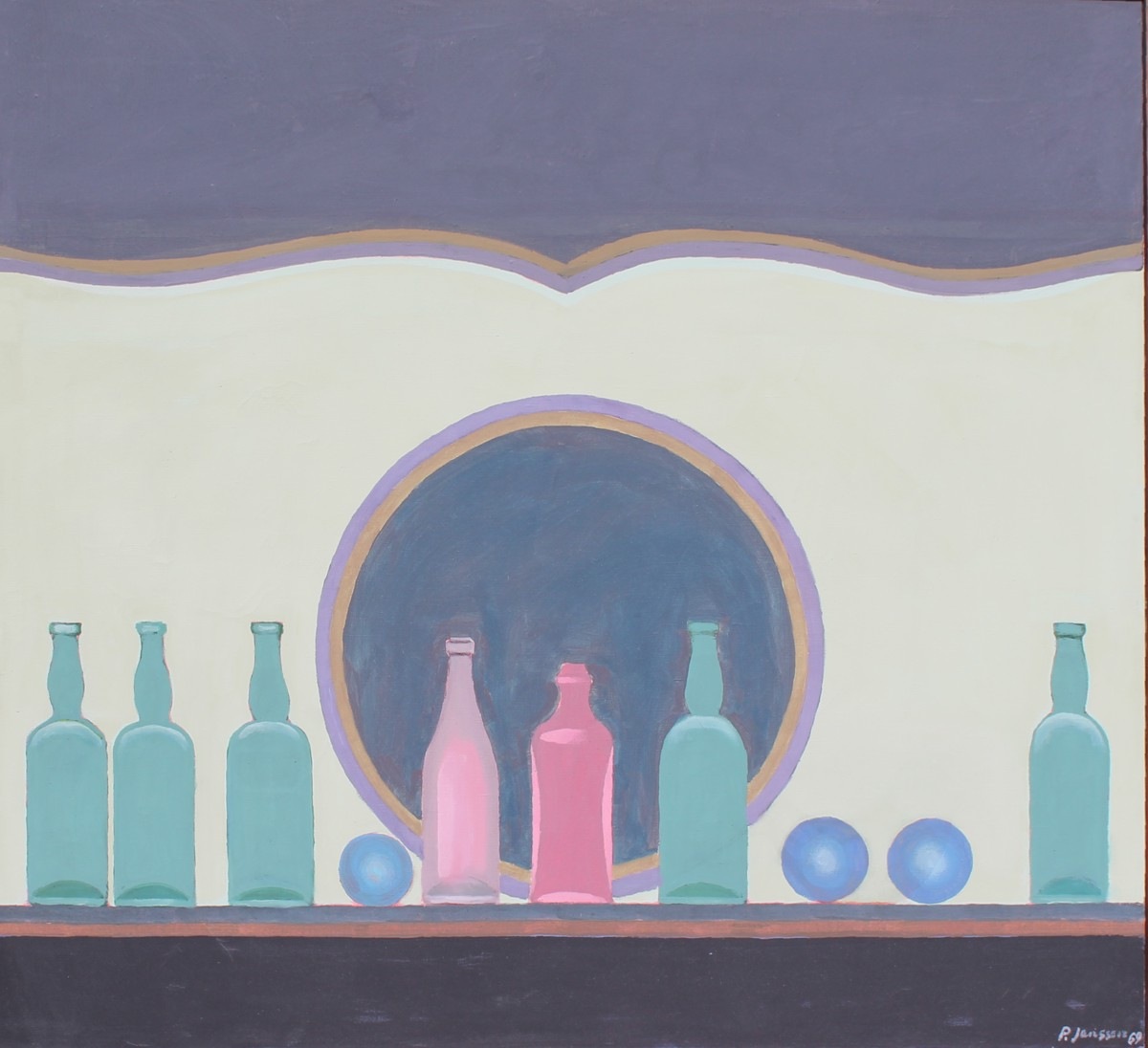 Still Life with Bottles, painting by Peter Janssen, click to enlarge!