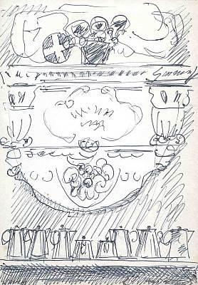 Stilleben mit Karaffen, Zeichnung von Peter Janssen