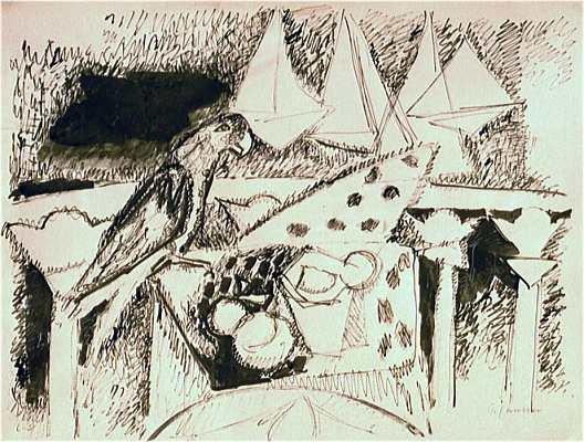 Stilleben mit Papagei und Booten, Zeichnung von Peter Janssen