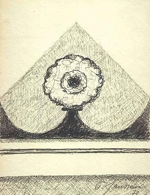 Baum in Dreieck 1970, Zeichnung von Peter Janssen