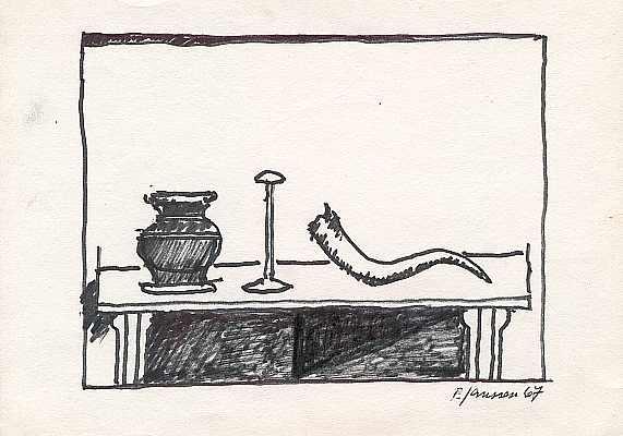 Stilleben mit Horn 1967, Zeichnung von Peter Janssen