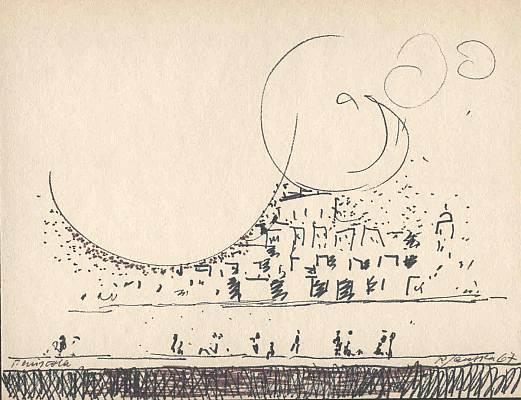 Peniscola, Zeichnung von Peter Janssen