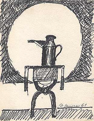Stilleben mit Kanne 1969, Zeichnung von Peter Janssen