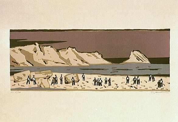Menschen am Meer (auberg.), Lithografie von Peter Janssen